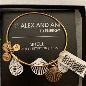 Gold Alex and Ani shell bracelet